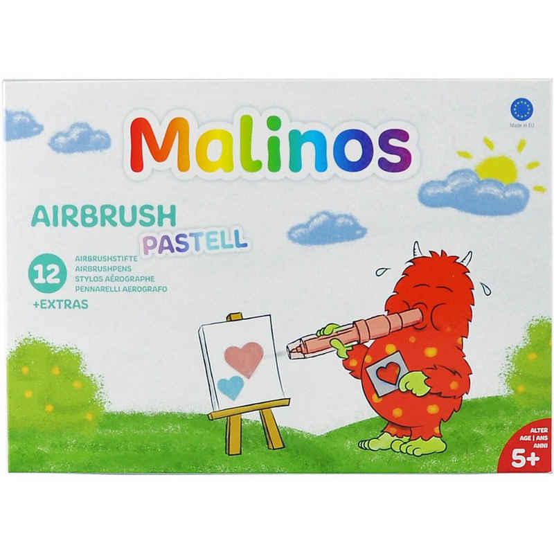 Amewi Dekorierstift »Malinos Airbrush Pastell, 12 Stifte + 8 Schablonen«