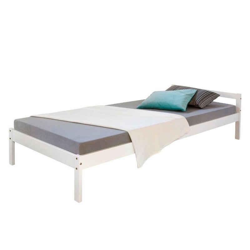 Homestyle4u Holzbett »Bettgestell Einzelbett Doppelbett Kiefer verschied«