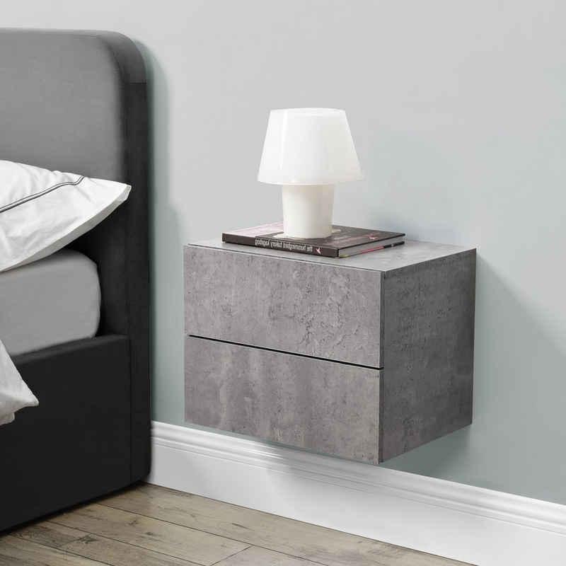 en.casa Hängeschrank »Amberg« Nachttisch Nachtschrank mit 2 Schubladen 40x29x30cm Betonoptik