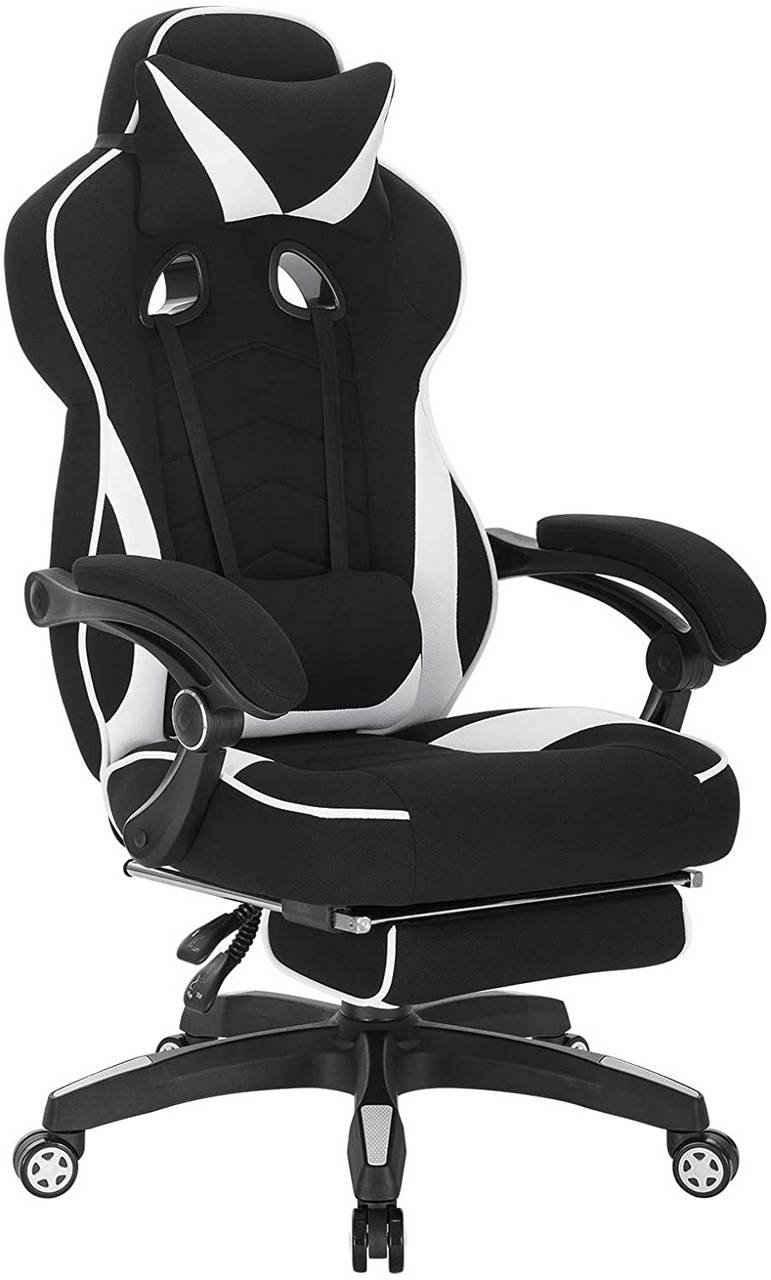 Woltu Gaming-Stuhl »BS83« (1 Stück), Racing Stuhl Bürostuhl Chefsessel mit Kopfstütze und Lendenkissen, mit Fußstütze, Stoff, höhenverstellbar