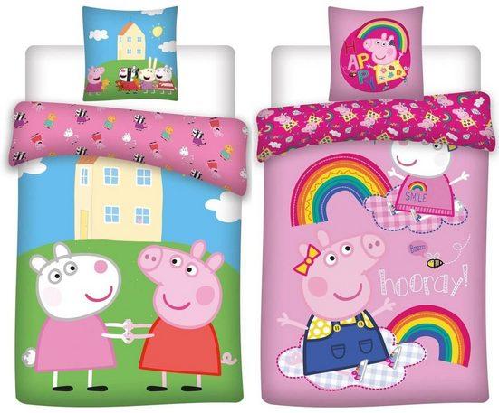 Kinderbettwäsche »Peppa Pig Wutz - 2 x Wende-Bettwäsche für Mädchen, 135x200 & 80x80 cm«, Peppa Pig, 100% Baumwolle