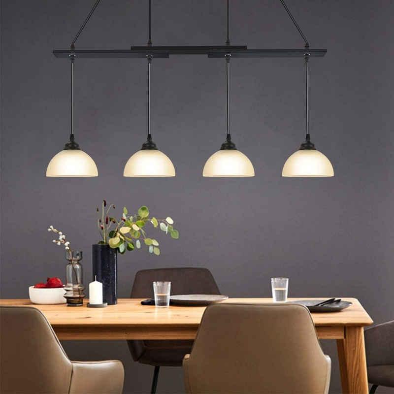 ZMH Pendelleuchte »Pendelleuchte Vintage Schwarz Hängelampe Esstisch Glas Holz E27 Fassung Wohnzimmerlampe Hängeleuchte für Schlafzimmer Esszimmer Wohnzimmer Küche Restaurant«