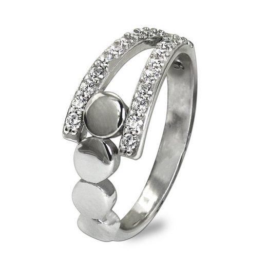 SilberDream Silberring »SDR407W56 SilberDream Ring Kreise Zirkonia weiß« (Ringe), Damen Ring Kreise, 56 (17,8) aus 925er Sterling Silber, Farbe: silber, weiß