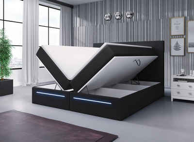 Baidani Boxspringbett »Sejour» mit LED und Stauraum«, mit Bettkasten und Topper, mit LED