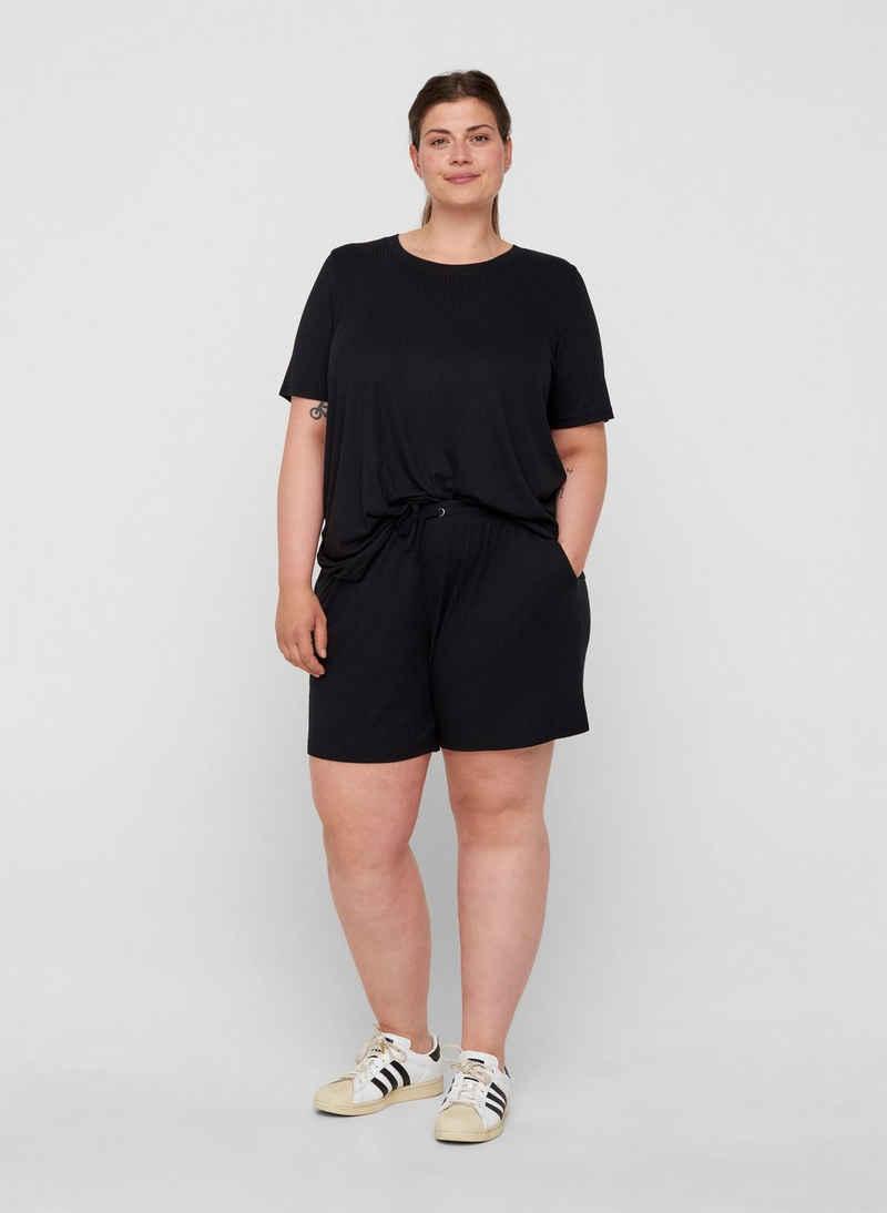Zizzi T-Shirt Große Größen Damen Einfarbiges T-Shirt in Ripp mit Rundhals