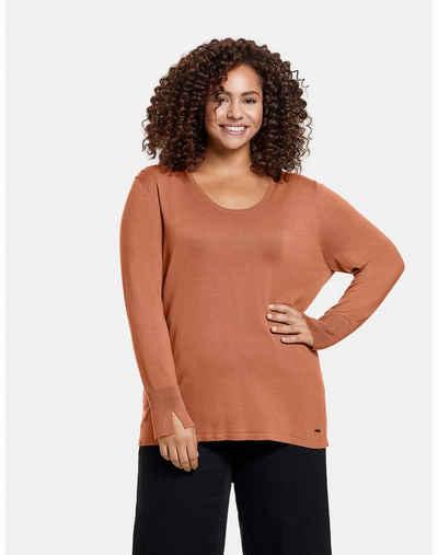 Samoon Rundhalspullover »Basic Pullover« (1-tlg) Feinstrick