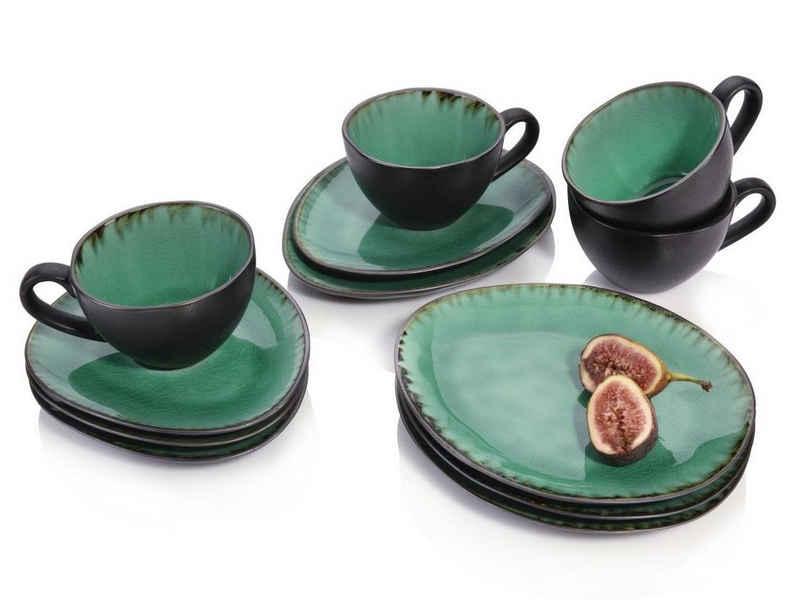 SÄNGER Kaffeeservice »Palm Beach« (12-tlg), Steingut, Krakellee-Effekt, Vintage Design