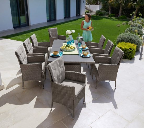 KONIFERA Gartenmöbelset »Mailand«, (25-tlg), 8 Sessel, Tisch 2x1 cm, Polyrattan