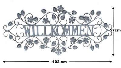 DanDiBo Metallschild »Wandschild Willkommen Metall Vintage Shabby Gross 102x47 cm Dekoschild Wandbild Schild Wand Dekoschild Antik«