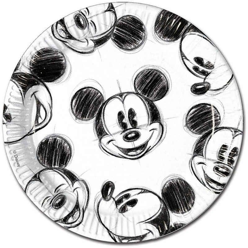 Procos Teller »Pappteller Mickey Faces 23 cm, 25 Stück«
