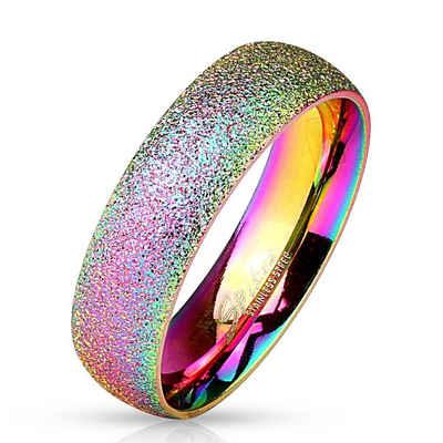 BUNGSA Fingerring »Ring Regenbogen sand-gestrahlt Bunt aus Edelstahl« (inkl. Schmuckbeutel aus Organza), Damen Herren Verlobung Ehering Valentinstag