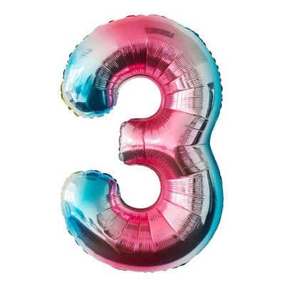 MyBeautyworld24 Folienballon »Folienballon Regenbogen Zahlenballon Heliumballon Riesenzahl Luftballon Party Kinder-Geburtstag«