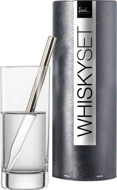 Eisch Whisky-Pipette »Gentleman« (Set, 2 Stück), Kristallglas mit Platin beschichtet, inkl. 1 Wasserglas, 190 ml
