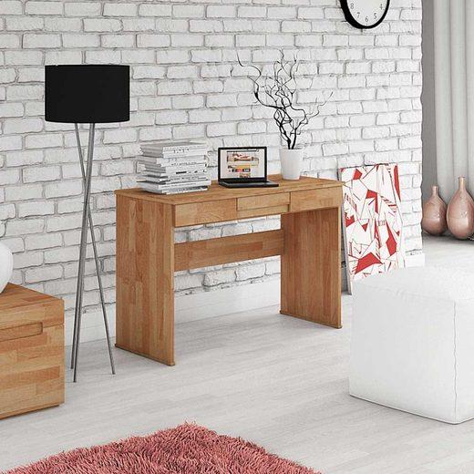 Pharao24 Schreibtisch »Vilana«, aus Massivholz, mit Stauraum, mit Knieraumblende