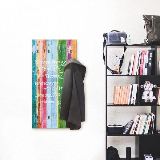 Artland Garderobe »Nimm dir Zeit«, platzsparende Wandgarderobe aus Holz mit 6 Haken, geeignet für kleinen, schmalen Flur, Flurgarderobe
