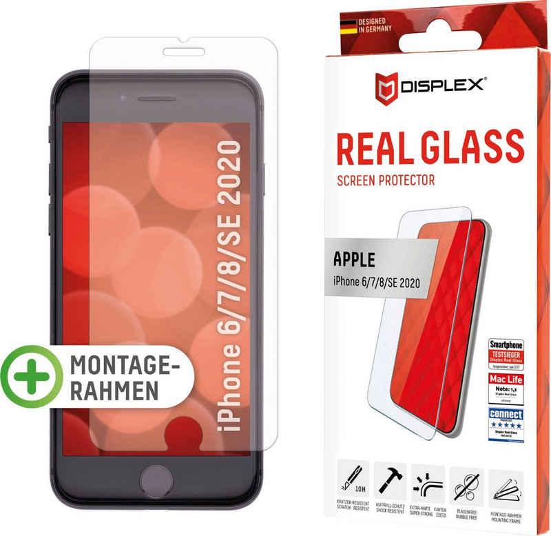 Displex »DISPLEX Real Glass Panzerglas für Apple iPhone 6/7/8/SE (2020) (4,7), 10H Tempered Glass, mit Montagerahmen, 2D« für Apple iPhone 6 / 7 / 8 / SE 2020, Displayschutzglas