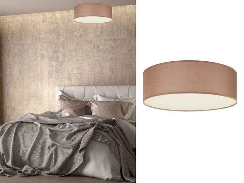 smartwares LED Deckenleuchte, Decken-Lampe dimmbar mit kleinem Stoff-Schirm Braun Skandinavisch schöne Beleuchtung für Wohnzimmer, Schlafzimmer und Flur