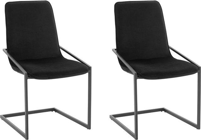 Stühle und Bänke - INOSIGN Freischwinger »Napea« 2er Set, mit schönem weichen Samtvelours Bezug, in unterschiedlichen Farbvarianten  - Onlineshop OTTO