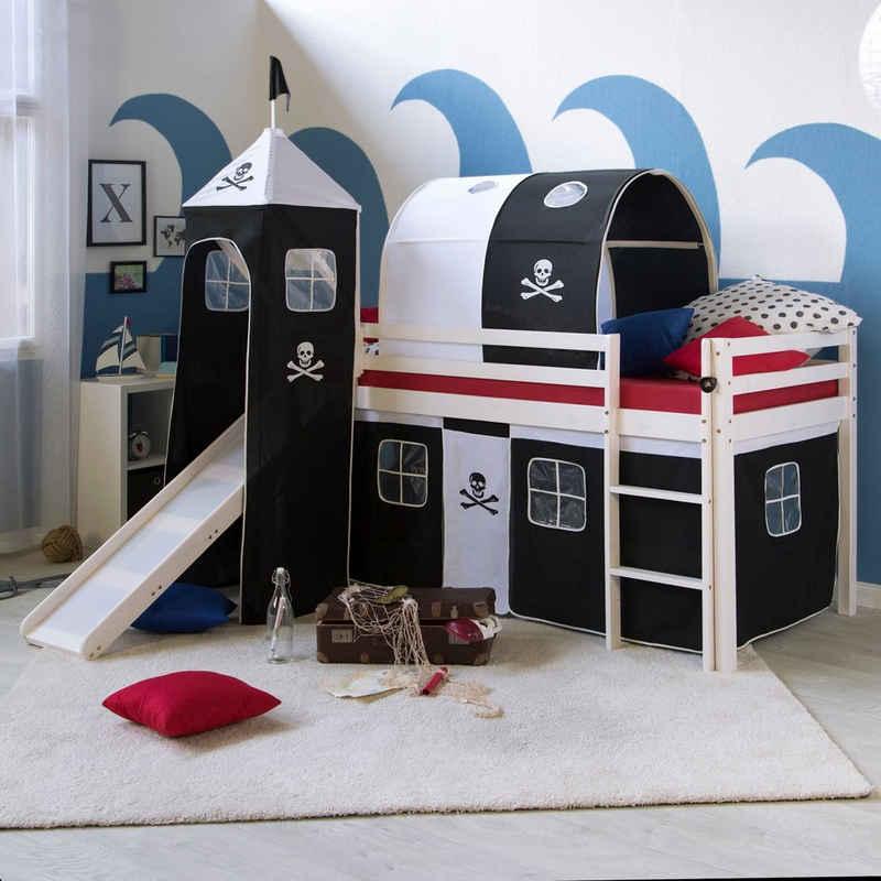 Homestyle4u Hochbett »Spielbett Kinderbett Rutsche Turm Pirat 90x200« (Bettvorhang waschbar bei 30 Grad Maschinenwäsche)