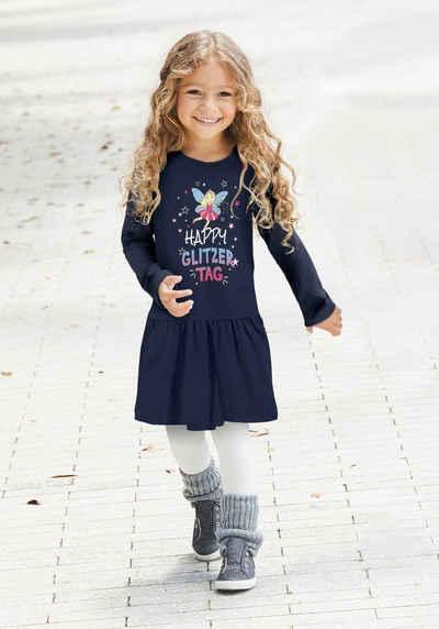 KIDSWORLD Jerseykleid »HAPPY GLITZER TAG« mit glitzerndem Print