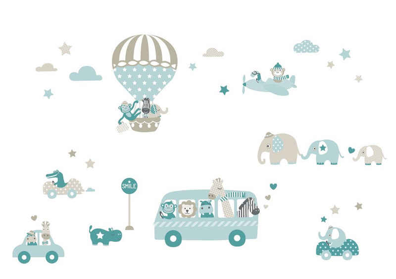 lovely label Wandsticker »Tiere on Tour taupe/mint/petrol - Wandtattoo Kinderzimmer Baby«