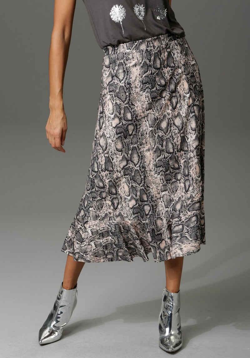Aniston CASUAL Volantrock mit trendigem Schlangenprint -