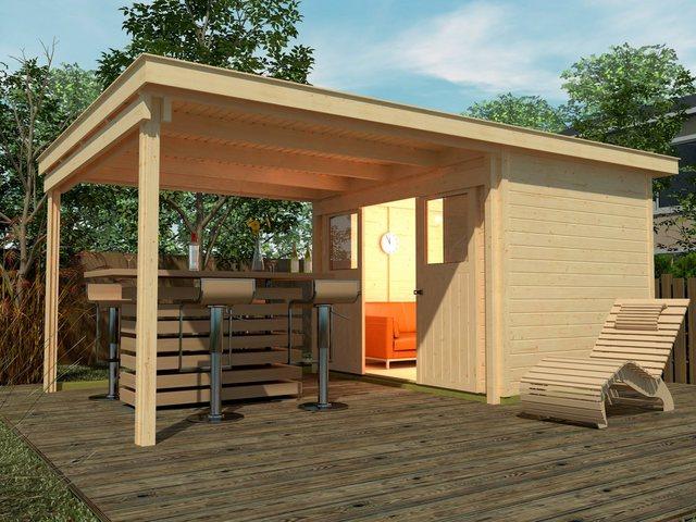 Weka Set: Gartenhaus Loungehaus Gr. 1, BxT: 504x295 cm, mit Anbau (300 cm breite) natur