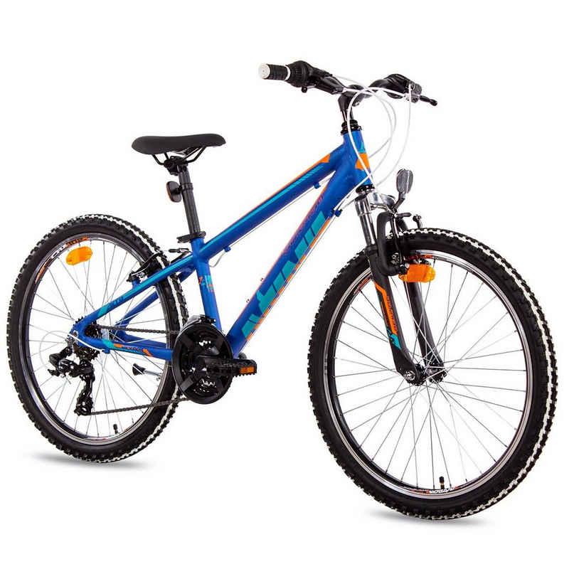 Airtracks Kinderfahrrad »MTB Mountainbike 24 Zoll Allu Jugend Fahrrad YO.2430 Shimano 18 Gang«, 18 Gang Shimano Tourney Schaltwerk, Kettenschaltung