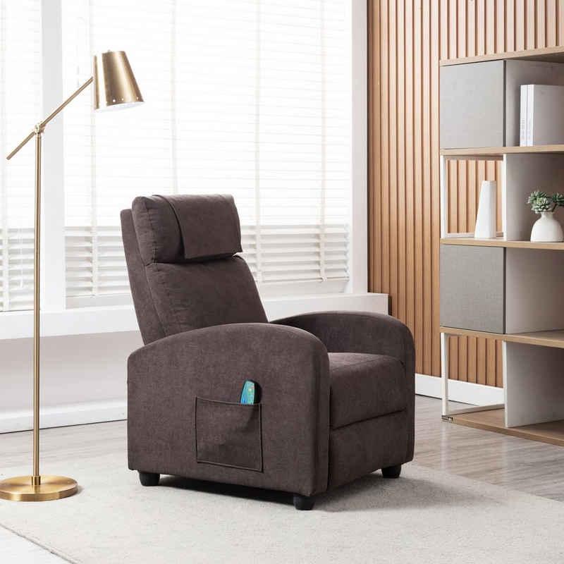 HomeGuru Relaxsessel »Relaxsessel mit Liegefunktion, Massagefunktion und Wärmefunktion, Fernsehsessel«, Stoff, braun