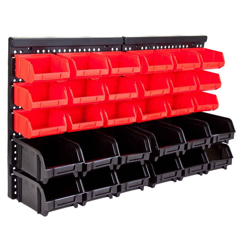 Grafner Lochwand »32tlg. Wandregal mit Stapelboxen Sortimentskasten Schraubenregal Stapelboxen«, 1 Stk., 63,5 x 38 x 2 cm