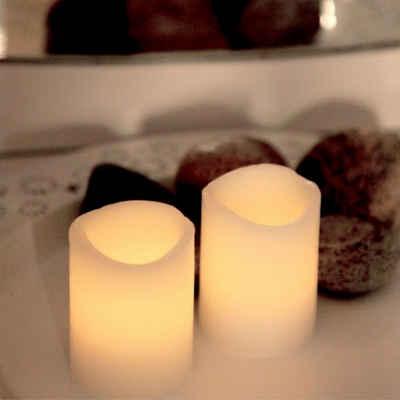 STAR TRADING LED-Kerze »LED Kerzenset WAVE - Echtwachs - flackernd - Timer - H:6cm, D:5cm - 2er Set - weiß«