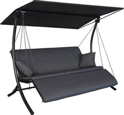 Angerer Freizeitmöbel Hollywoodschaukel »Swing Zip anthrazit«, 3-Sitzer, Bettfunktion, wetterfest