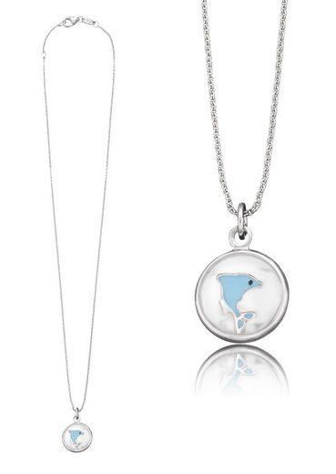 Herzengel Kette mit Anhänger »Delfin als Symbol für Freiheit, HEN-GLAS-07FREEDOM«, mit Glaslinse und Emaille