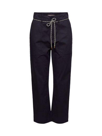 Esprit Culotte »Utility-Hose mit Gürtel, Pima-Baumwolle«