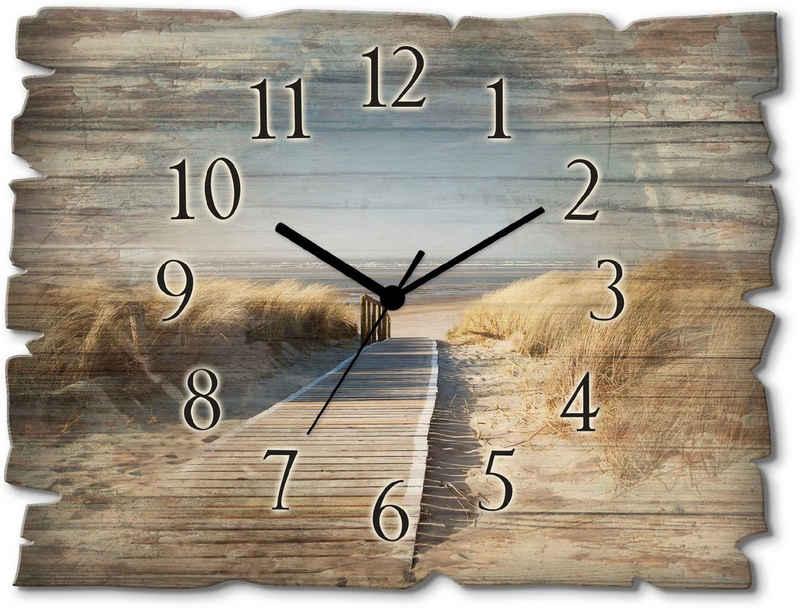 Artland Wanduhr »Nordseestrand auf Langeoog - Steg« (lautlos, ohne Tickgeräusche, nicht tickend, geräuschlos - wählbar: Funkuhr o. Quarzuhr, moderne Uhr für Wohnzimmer, Küche etc. - Stil: modern)