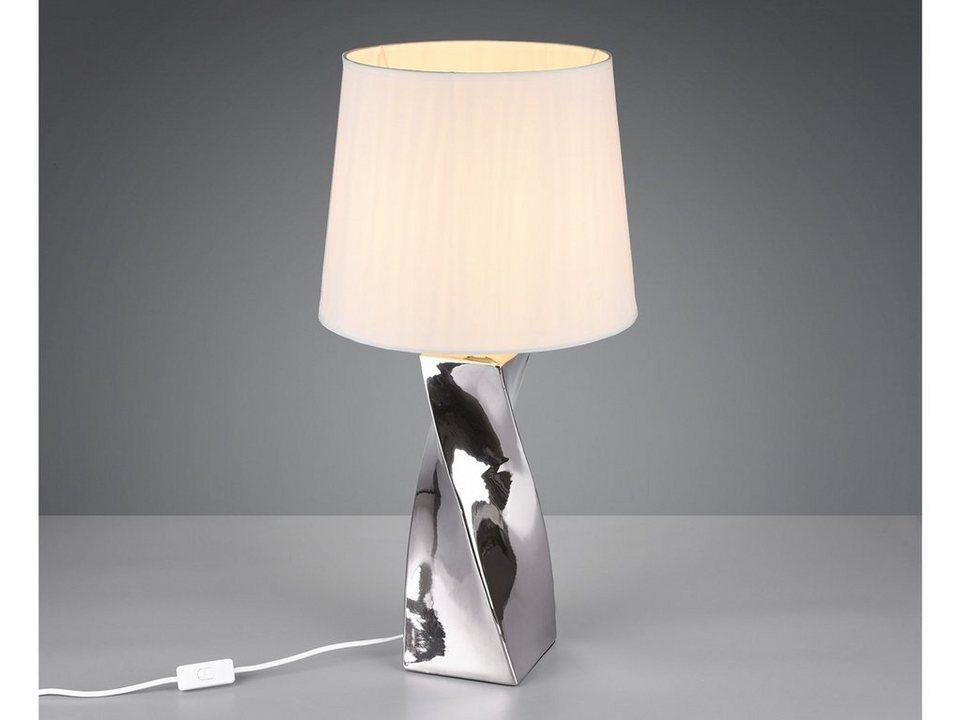 TRIO LED Tischleuchte, Große Keramik Tisch Lampe E27 mit Stoff Lampen Schirm für Wohnzimmer ...