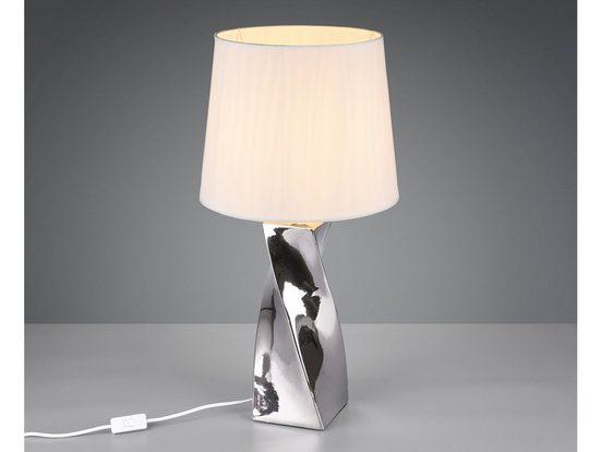 TRIO LED Tischleuchte, Große Keramik Tisch-Lampe E27 mit Stoff-Lampen-Schirm für Wohnzimmer, Fensterbank, Schlafzimmer, Schreibtisch