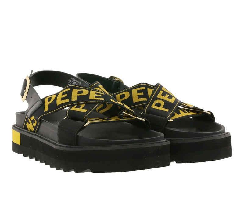 Pepe Jeans »Pepe Jeans Plateau-Sandalen stylische Retro-Sandaletten für Frauen mit Stoff-Riemen Latschen Schwarz« Sandale