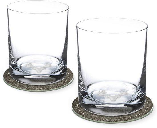 Contento Whiskyglas, Glas, Hirsch, 400 ml, 2 Gläser, 2 Untersetzer