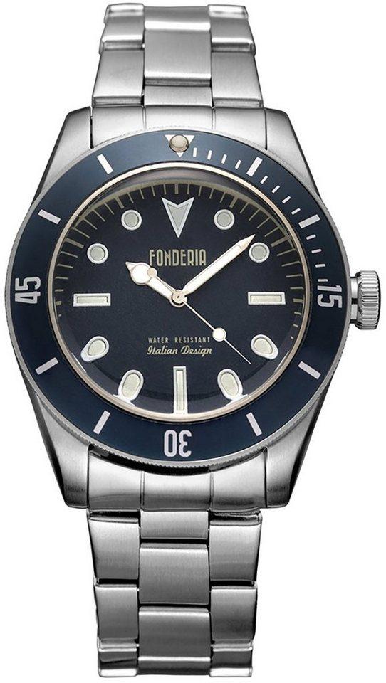 fonderia -  Quarzuhr »UAP7A002UBB  Herren Uhr P-7A002UBB«, (Analoguhr), Herren Armbanduhr rund, silber, blau