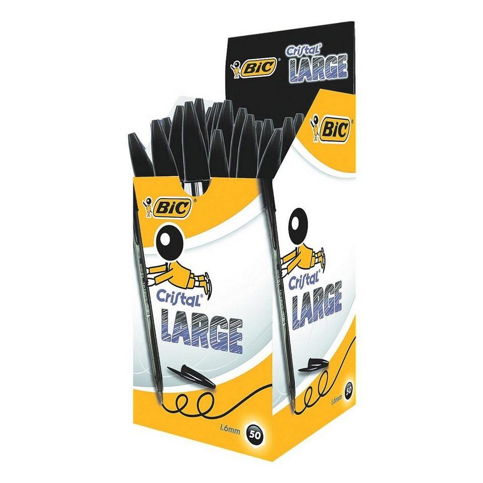 BIC 50er-Pack Kugelschreiber »Cristal Large« in schwarz