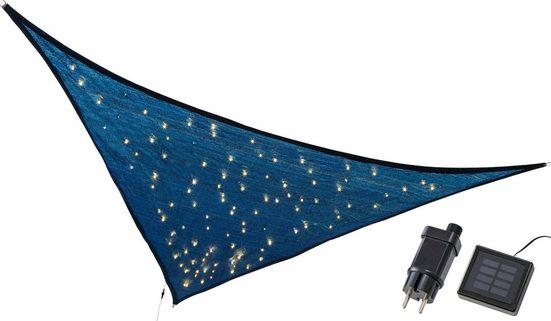 kamelshopping Sonnensegel »Sonnensegel mit LED Solar Beleuchtung«, dreieckig, ca. 3,25 x 3,25 x 3m, Polyethylen, Sonnenschutz mit Lichterkette, Funkelmodus, 110 LEDs, warmweiß