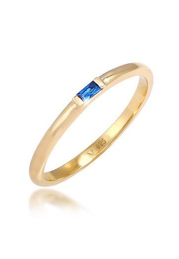 Elli Premium Fingerring »Topas Geo Rechteck Verlobung Solitär 925 Silber«, Kristall Ring