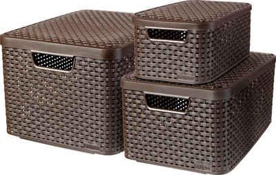 Curver Aufbewahrungsbox »Style Box L+M+S« (Set, 3 Stück), dunkelbraun