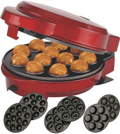 MELISSA Donut-Maker 3in1 Donut Muffin und Popcake-Maker 3 auswechselbare Backplatten, Rot Metallic, 700 W