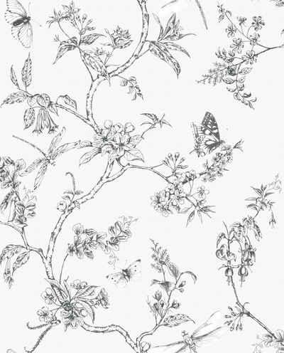 WOW Vliestapete »Natur - Baum/Vogel«, (1 St), Schwarz/Weiss - 10m x 52cm