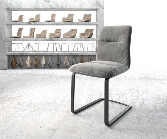DELIFE Esszimmerstuhl »Vinjo-Flex« Freischwinger flach schwarz Samt Grau