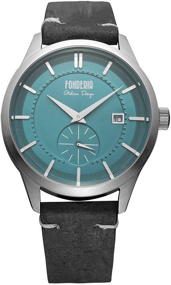 fonderia -  Chronograph »UAP6A009UB2  Herren Uhr P-6A009UB2 Leder«, (Analoguhr), Herren Armbanduhr rund, groß (ca. 41mm), Lederarmband grau, schwarz