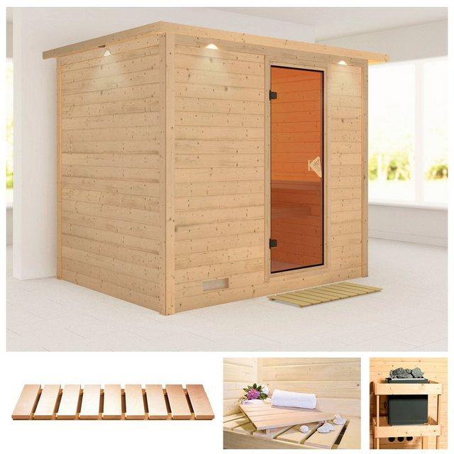 Saunen und Zubehör - KARIBU Sauna »Sonara«, 259x210x202 cm, ohne Ofen, Dachkranz  - Onlineshop OTTO