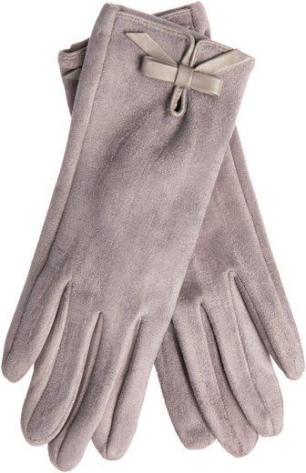 EEM Fleecehandschuhe Jerseyhandschuhe MALENA in Wildlederoptik